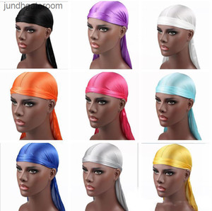 Factory813QBandana Turban Satin New Fashion Durags Men's Wigs Men Silky Durag Headwear Headband Pirate Hat Hair Accessories