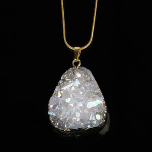 Opal White Irregular Crystal Pendant Necklaces Gold Wrap Natural Gem Stone Necklace For Women Solid Druzy Stone Necklace Jewelry