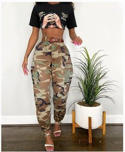 Womens Camo Cargo Trousers Cool Camouflage Waist Casual Multi Outdoor Jogger Slim Fit Pants Drop Shipping