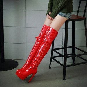 Hot Sale-YMECHIC Winter Black Red Pu Patent Leather Overknee Knight Boots Women Party Platform Shoes Big Size Long Ridding Boot