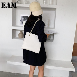 [EAM] Women New Large Capacity Chains PU Leather Flap Personality All-match Crossbody Shoulder Bag Fashion Tide 2020 18A0584