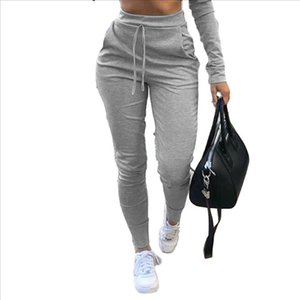Women Black Grey White Casual Sweatpants Jogger Dance Sporty Slim Stretch Trousers Solid Fitness Drawstring Long Harem Pants