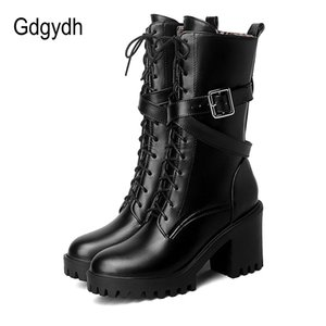 Women Mid-calf Boots Round Toe Thick High Heel Platform Shoes Soft Leather Punk Female Motorcycle Boots Plus Size 34-43