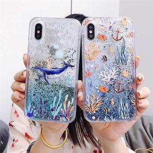 Moda linda mar mundo animal ballena plantas brillantes flujo lentejuelas de lentejuelas y caja del teléfono para iphone 12 11 pro x xs max xr 6 7 8 plus