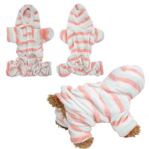 Pet Köpek tulum Coral Polar Açık Kırmızı Yeşil Çizgili Sonbahar Kış Dört Ayaklar Pet Kapüşonlular Giyim Pijama Giyim Isınma