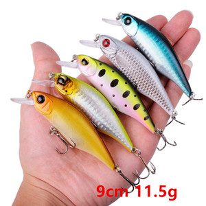 10 Color Mixed 9cm 11.5g Minnow Fishing Hooks 6# Hook Hard Baits & Lures BU-197