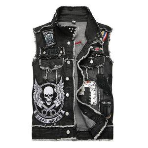 Men's Denim Vest Skull Embroidery Black Fringe Trendy Patches Patchwork Rivet Letters Slim Waistcoat Tank Top