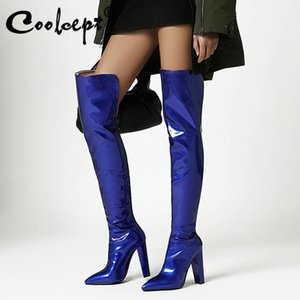 Coolcept Size 34-43 Women Over Knee Boots 6 Color Sexy Pointed Toe High Heel Winter Shoes Woman Warm Long Boot Party Footwear