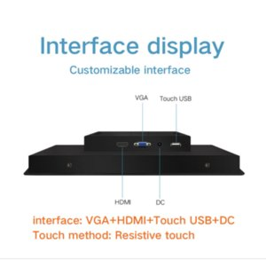 1000nits brightness Rugged Embedded Touch Screen 12 Inch Lcd Computer Monitor With VGA