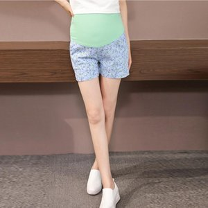 Maternity Shorts Pregnancy Short Pants for Pregnant Women Floral Small Flower Cotton Summer Wear High Elastic Belly Care Shorts