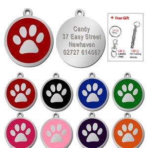 Özelleştirilmiş Köpek KIMLIK Tag PET Kişiselleştirilmiş Etiketler Kazınmış Yuvarlak Paw Pet Namplate Kolye Köpekler için Kediler Ücretsiz Hediye Ile WMTNSO