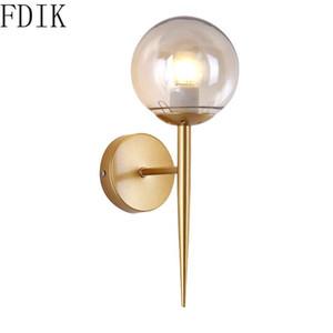 Modern Gold Glass Wall Lamp Vintage Led Sconce Lights Fixtures for Home Living Room Bedroom Kitchen Corridor Light Loft Decor