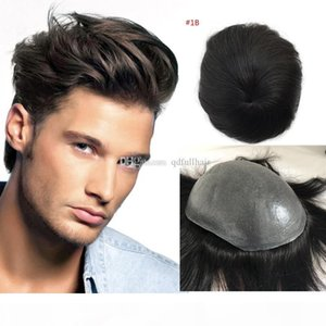 Full Pu Toupee For Men 5 color Super Thin Skin PU V Loop Human Hair Mens Toupee Replacement Systems Hairpiece Mens Wig