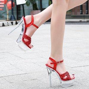 Sandales Voesnees Femmes Chaussures 2021 Mode Nouveau Talon Super High High High Talon 14cm Plate-forme imperméable à la plate-forme de voiture de poteau femelle