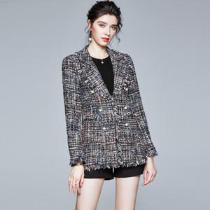 S M L XL XXL new winter 2020 women blazer long sleeve woolen slim tassel office lady jacket