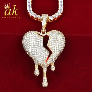 Dripping Broken Heart Red Color Oil Rock Pendant for Men Gold Color Material Copper Cubic Zircons Bling Charms Hip Hop Rock Street
