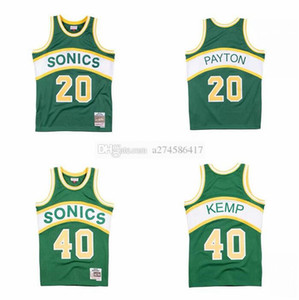 Uomo personalizzato Kid Retro Basket Pallacanestro Seattlecity Team 35 Durant 40 Kemp 20 Payton Mitchell Ness 1994-95 Hardwoods Classics Authentic Jersey