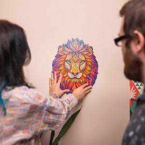 Nouveau renard chat lion loup puzzle jouet chaque pièce est bande dessinée Puzzle de jigsaw en bois pour adultes enfants d'anniversaire éducatif cadeaux gratuits