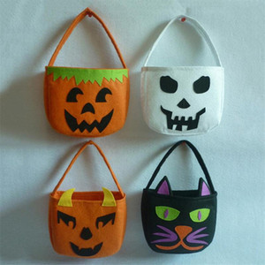 Halloween Pumpkin White Ghost Witch Black Cat Gift Bag Trick-or-Treat Candy box non-woven Bags for kids