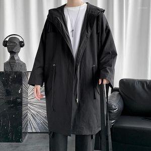 Legible longo jaqueta mens primavera outono solto casual homens windbreaker sólido casaco de trench para homens1
