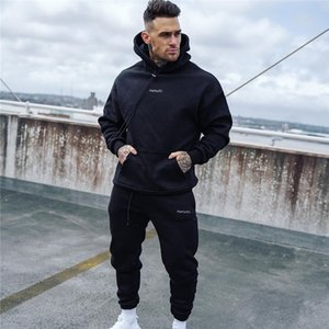 2020 Autumn New Tracksuit Fashion Running Men's Sportswear Two Piece Sets Cotton Thick Hoodies+pants Sporting Suit Male Hoodies