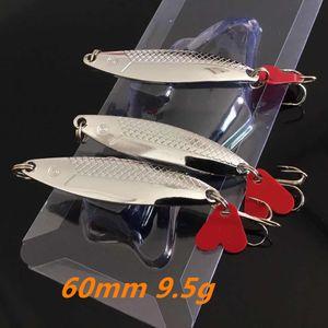 1pc Silver VIB Spoons Metal Baits & Lures 60 MM 9.5 G 6# Hook Fishing Hooks Pesca Fishing Tackle Accessories B148_205