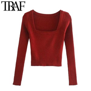 TRAF Mujer Moda Stretch Slim Thing Heched Suéter Vintage Cuadrado Collar de manga larga Mujeres Polotes Chic Tops