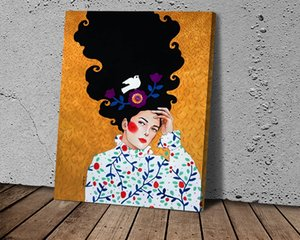 HD Canvas Print Home Decor Art Painting Flower Hair Abstract Girl Art Poster on Bird Mural