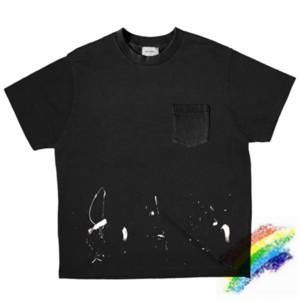 Ağır Kumaş T Shirt Erkek Kadın 1 Yüksek Kalite Top Tees Cep Siyah Vintage Streetwear T-Shirt