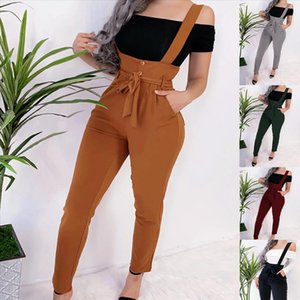 LOSSKY Fashion Bodycon Black Long Lace Pants 2020 Autumn Winter Casual Solid Overalls Ladies Pants Sexy Empire Womens Bib