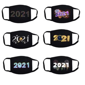 2021 Christmas Face Mask Happy New Year Facemask Masque Adult Washable Reusable Face Masks Designer Masks Cover 6 Styles DHC4361
