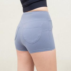 New Style Pocket Peach Buttock Lifting Sports Shorts Women's Tight-Fit High-waisted Elasticity Exaggerates Hips Running Yoga