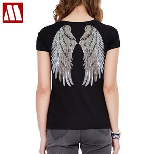 Fashion Sequin Angel Wings T-shirt Woman Causal Tops Novelty Half Sleeve O-neck T Shirt New Summer Loose Sexy Appliques T-shirts A1112