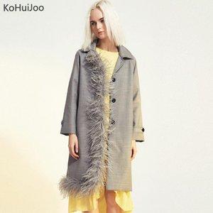 Kohuijoo hembra long blazers runway fashion natural pluma remiendo remiendo en un solo traje de pecho chaquetas mujeres diseñador abrigos