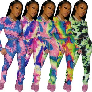women designers clothes 2020 Fall winter womens tracksuit leisure sports tie dye pleated two piece jogging suits