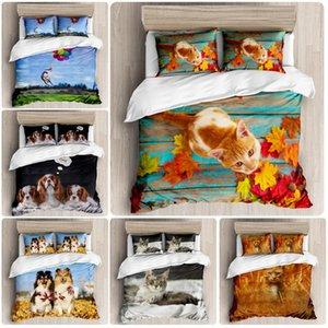 3d Print Bedding Sets Cute Pet Cats and Dogs Pattern kids Bedding Soft Duvet Cover Pillowcase Sheets 3pcs Double set