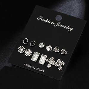 IF ME Vintage Crystal Stud Earring Sets Mixed for Women Retro Gold Silver Color Cross Heart Flower Shape Ear Jewelry Party Gift