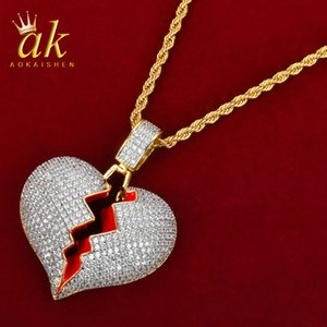 Broken Heart Red Oil Gold Color Material Copper Full Cubic Zircons Hip Hop Jewelry Street With Rope Chain