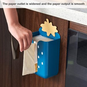 Wall-mounted Tissue Box Self-adhesive Garbage Storage Organizer Toilet Paper Holder Container