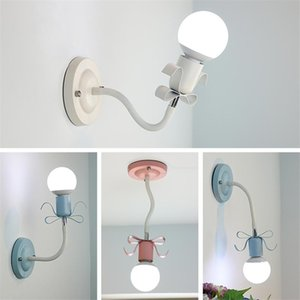 Princess Children's Room Bow-Tie Hose Wall Lamps Bedroom Bedside Study Room Aisle Corridor Romantic Adjustment Sconce Wall Light