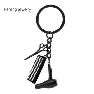 Wholesale secador scissor pente keychain pingentes tesoura jóias cosmetologist cabelo cômoda chaveiro cabeleireiro presente