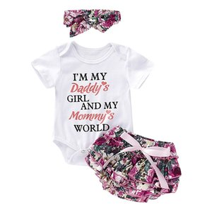 2019 New Born Baby Girls Clothes Newborn Girl Playsuit Romper Pants+ Headband Outfit 3pcs Set Toddler Infant Baby Girls Clothing Z1118