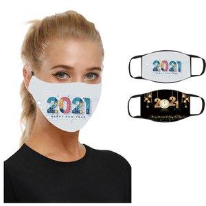 2021 Máscara Mascarilla Año Nuevo Mascarilla Cotton Imprimir Adulto Impermeable Lavable Paño Boca Máscara 7 Estilos Feliz Año Nuevo FWA2454