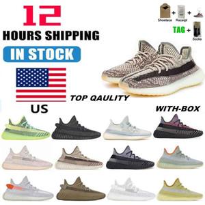 Stock negli Stati Uniti 2021 Kanye West Mens Donne da donna Scarpe da corsa Cinder Zebra Tail Light Reflective Donne Sneakers Sport Sneakers taglia 36-48 con metà