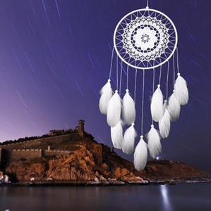Artesanal Lace Dream Catcher White Dreamcatcher Wind Chimes Circular com Penas Pendurado Decoração Ornament Craft Presente Crocheted BWE4615