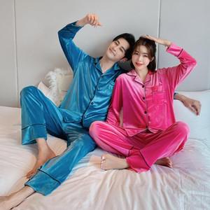 Winter Plus Size Couple Pajamas Set Long Sleeve Casual Soft Sleepwear Flannel Warm Pyjamas Women Solid Color Homewear Nightwear