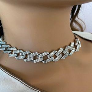 Miami Cuban Link Change Ожерелье Мода Ледяная Световая цепочка Ожерелье Строки 20 мм Гробные Гоню Браслет Ожерелья для Мужчин Хип Хоп JewelryQ0115