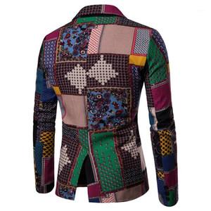 2020 디자인 아프리카 스타일 남성 블레이저 린넨 스티치 인쇄 염색 재킷 남성 여름 패션 남자 정장 블레이저 남성 코트 1