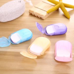 20PCS box Portable Mini Travel Soap Paper Washing Hand Bath Clean Scented Slice Sheets Disposable Boxe Soap Disinfectant Soap Paper 50 sets