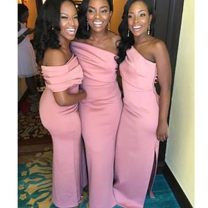 Off Shoulder Evening Dress 2020 spring slim pink slit Bridesmaid Dress